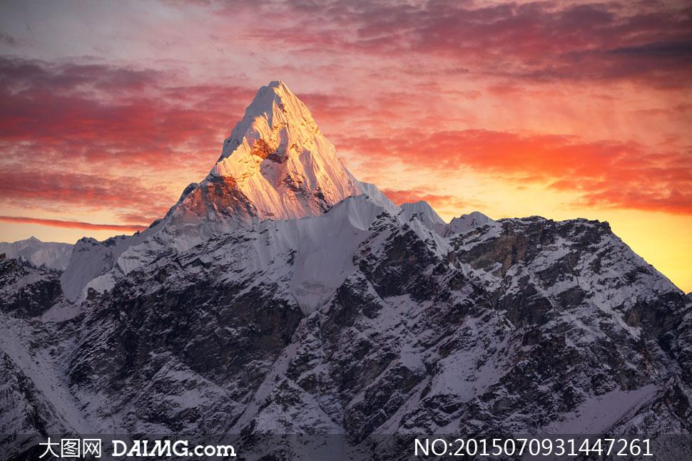 高清大图图片素材摄影自然风景风光天空云彩云层多云雪山大山高山山峰