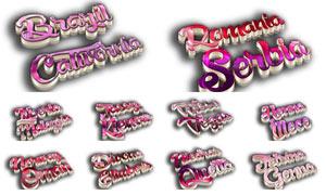 10款粉色质感的3D立体字PSD模板
