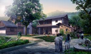农家仿古建筑物效果图设计分层素材