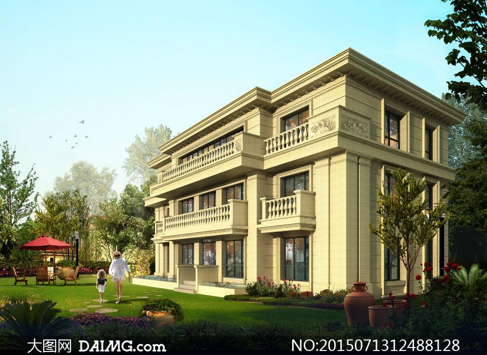 花园别墅建筑物效果图设计分层素材