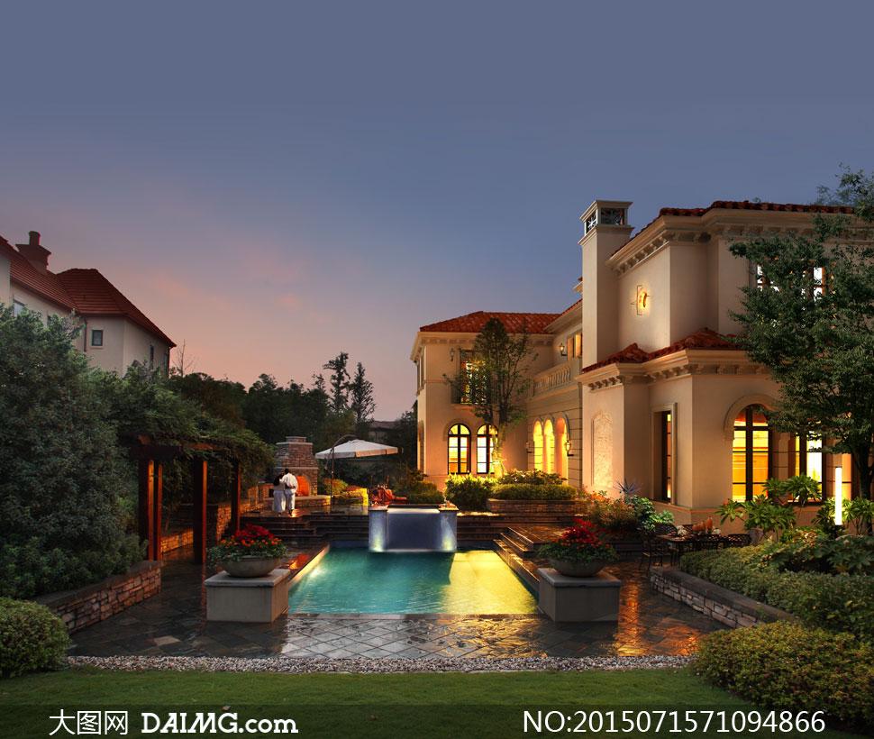 灯火通明的别墅夜景效果图分层素材