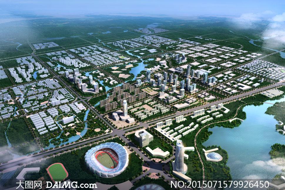 体育场馆与城市建筑群psd分层素材