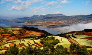 念湖美丽的梯田全景图摄影图片