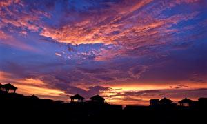 城市唯美的夕阳景色摄影图片