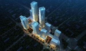 城市高楼鸟瞰灯光照明夜景分层素材