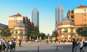 小區住宅樓與行人樹木PSD分層素材