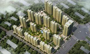 林立的小區住宅樓鳥瞰PSD分層素材
