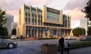 樓房建筑物與道路綠化PSD分層素材