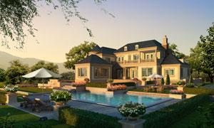 花园别墅与室外游泳池PSD分层素材