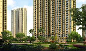 小區高層建筑與草地綠化等分層素材