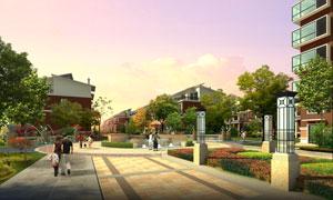 小区内的花草树木景观效果分层素材