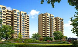 住宅楼与草地树木景观绿化分层素材