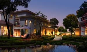 夜晚灯火通明的别墅景观效果图素材