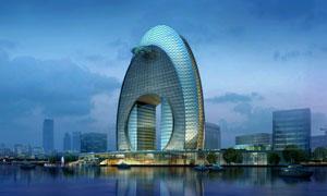 创意建筑物景观照明效果图分层素材