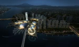 繁华城市夜晚标志建筑PSD分层素材