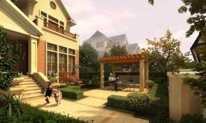 别墅住宅与绿化景观效果图分层素材