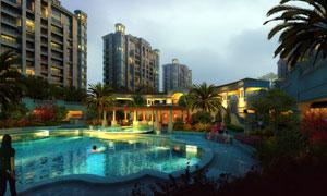 小区室外游泳池景观效果图分层素材
