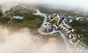 河水两岸的建筑物鸟瞰效果分层素材