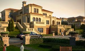 欧式建筑群与庭院绿化效果分层素材