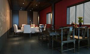 房间里的中西两式桌椅摆设分层素材
