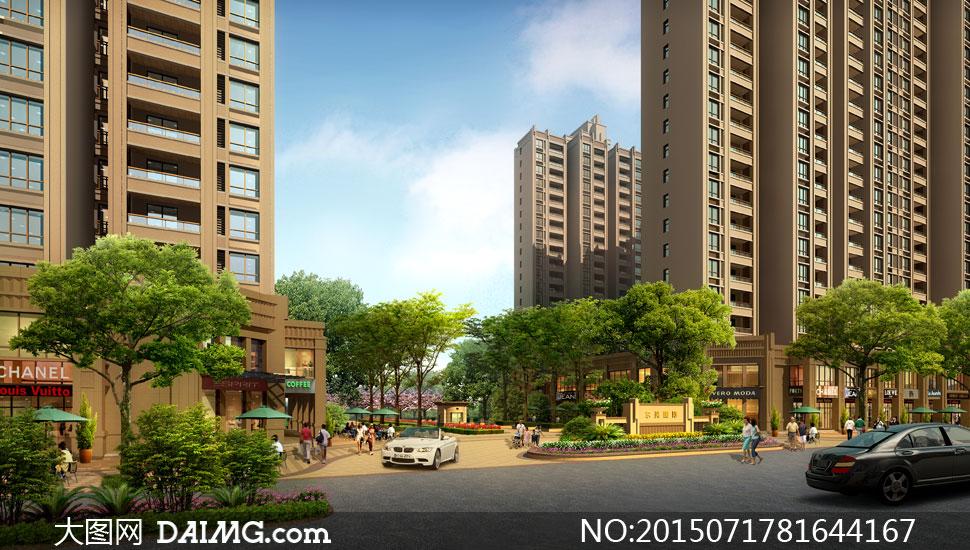住宅楼与小区入口景观效果分层素材