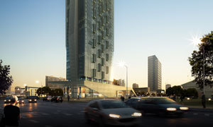 城市商业区地标建筑效果图分层素材