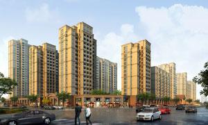 城市住宅建筑群渲染效果图分层素材