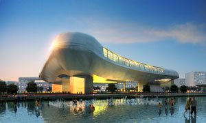 蓝天白云与创意造型建筑物分层素材