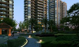 楼房建筑物与景观绿化效果分层素材