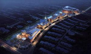 城市建筑群夜晚景观效果图分层素材