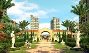 住宅区与雕塑景观效果PSD分层素材