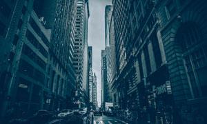 街道旁林立的城市建筑摄影高清图片
