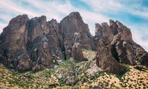 蓝天白云怪石自然景观摄影高清图片