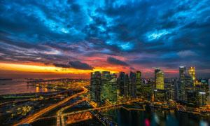繁华城市商业区建筑物摄影高清图片