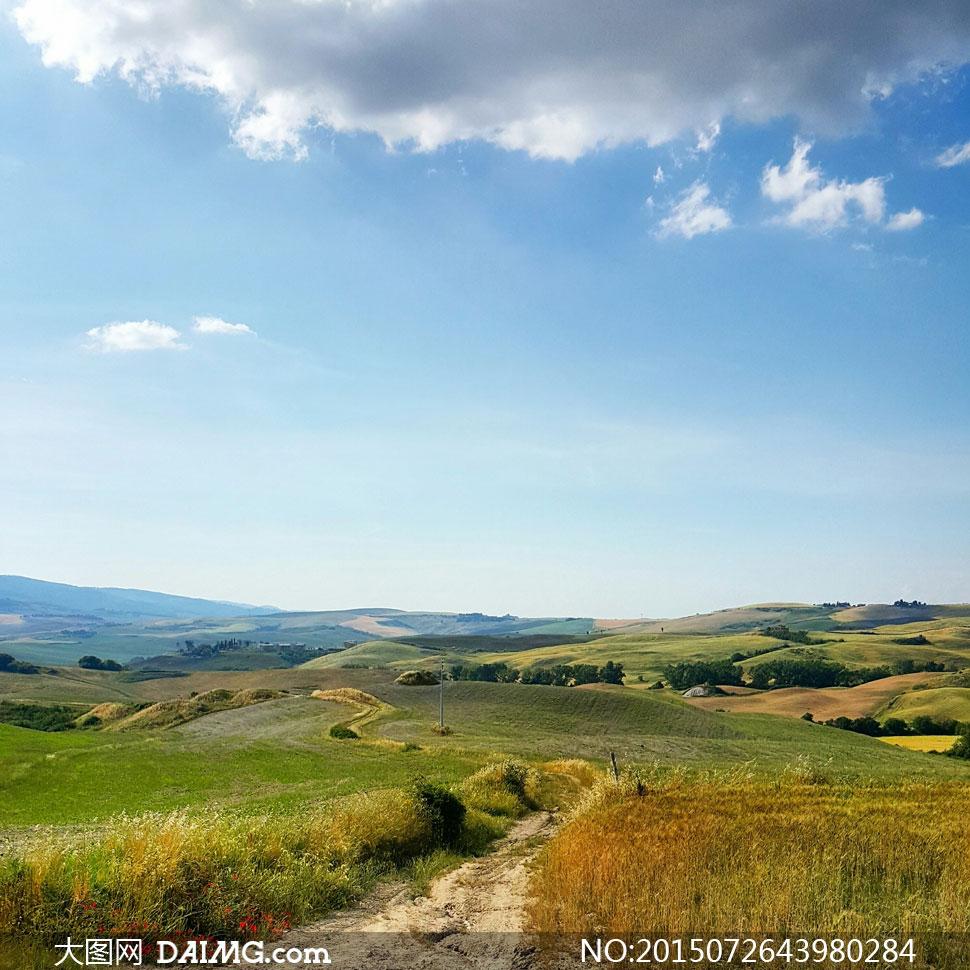 天空白云田园自然风景摄影高清图片