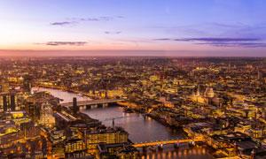 繁华城市建筑景观鸟瞰摄影高清图片
