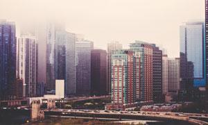 城市成排的建筑物风光摄影高清图片
