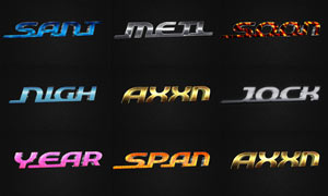 8款金属质感的3D立体字PSD模板V6