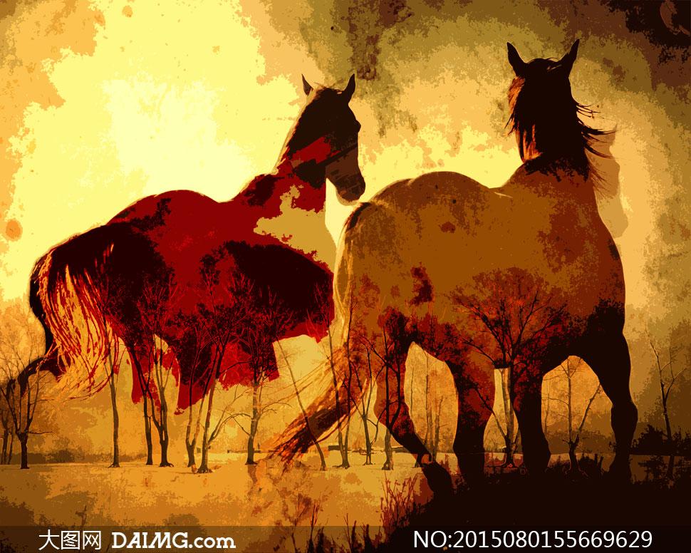 关键词: 高清大图图片素材绘画艺术文化美术马匹骏马树木树林大树