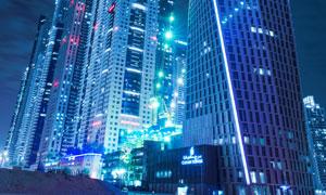 迪拜摩天大楼夜景风光摄影高清图片