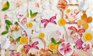 蝴蝶结三角旗与纸花等欧美剪贴素材