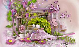 花朵缎带与叶子丝线等欧美剪贴素材