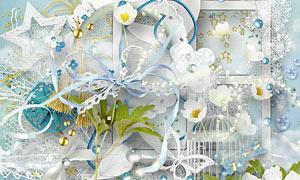 花朵鸟笼与缎带树叶等欧美剪贴素材