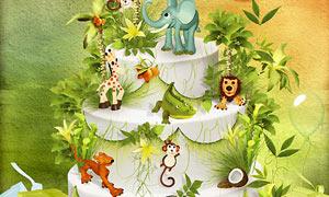 猴子狮子与大象老虎等欧美剪贴素材