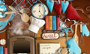炊具书本与闹钟坚果等欧美剪贴素材
