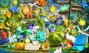 花朵兔子与帽子梯子等欧美剪贴素材
