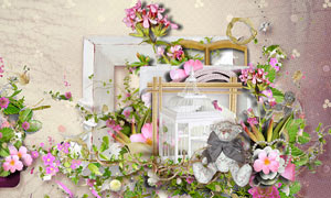 花朵钥匙与鸟笼边框等欧美剪贴素材