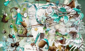 雪橇丝带与纸张绿叶等欧美剪贴素材