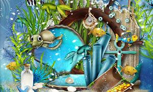船锚缎带与海中生物等欧美剪贴素材