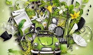 蝴蝶鸟笼与帽子汽车等欧美剪贴素材